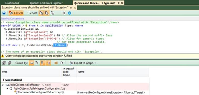 NDepend Exception query edit 2