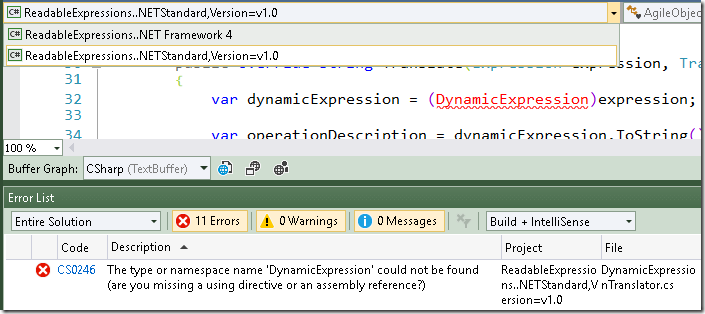 DynamicExpression not supported